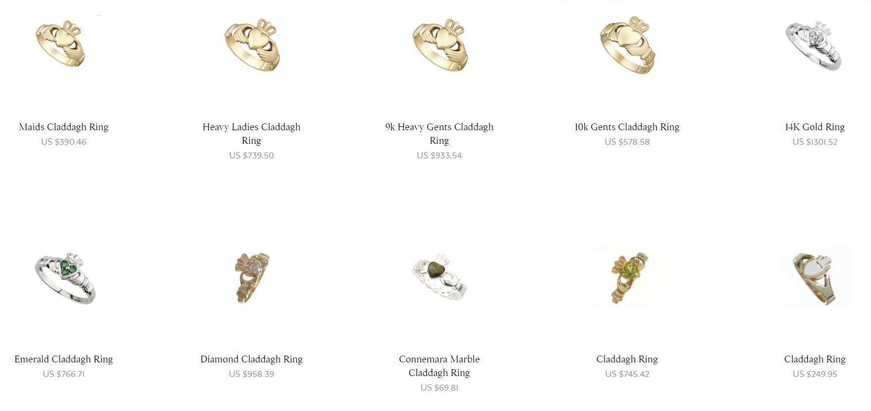 Claddagh Rings from Irish Jewel