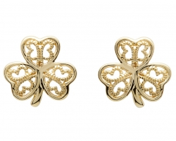 10k Shamrock Earrings