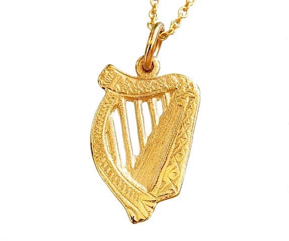 Small gold harp pendant irishjewel small harp pendant aloadofball Gallery