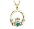 Diamond & Emerald Claddagh Pendant
