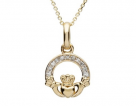 14K Claddagh Diamond Pendant