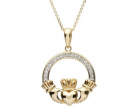 14K Celtic Diamond Claddagh Pendant