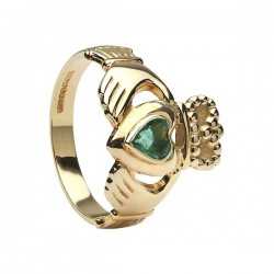Claddagh Ring with heart shaped Emerald