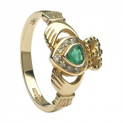 Diamond & Emerald Claddagh Ring