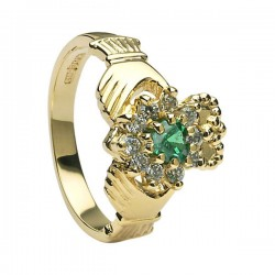 Diamond & Emerald Cluster Claddagh Ring