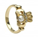 Claddagh Ring with Half Pearl