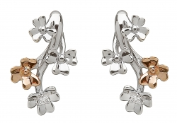 White Gold Shamrock Earrings