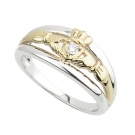Claddagh Ring .Silver Gold & diamond