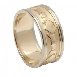 Claddagh Band. yel.gold/wh.trim 8.5mm
