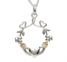 Claddagh and Shamrock Pendant