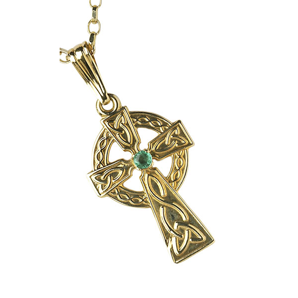 Emerald Celtic Cross Pendant Irish Jewel Handmade