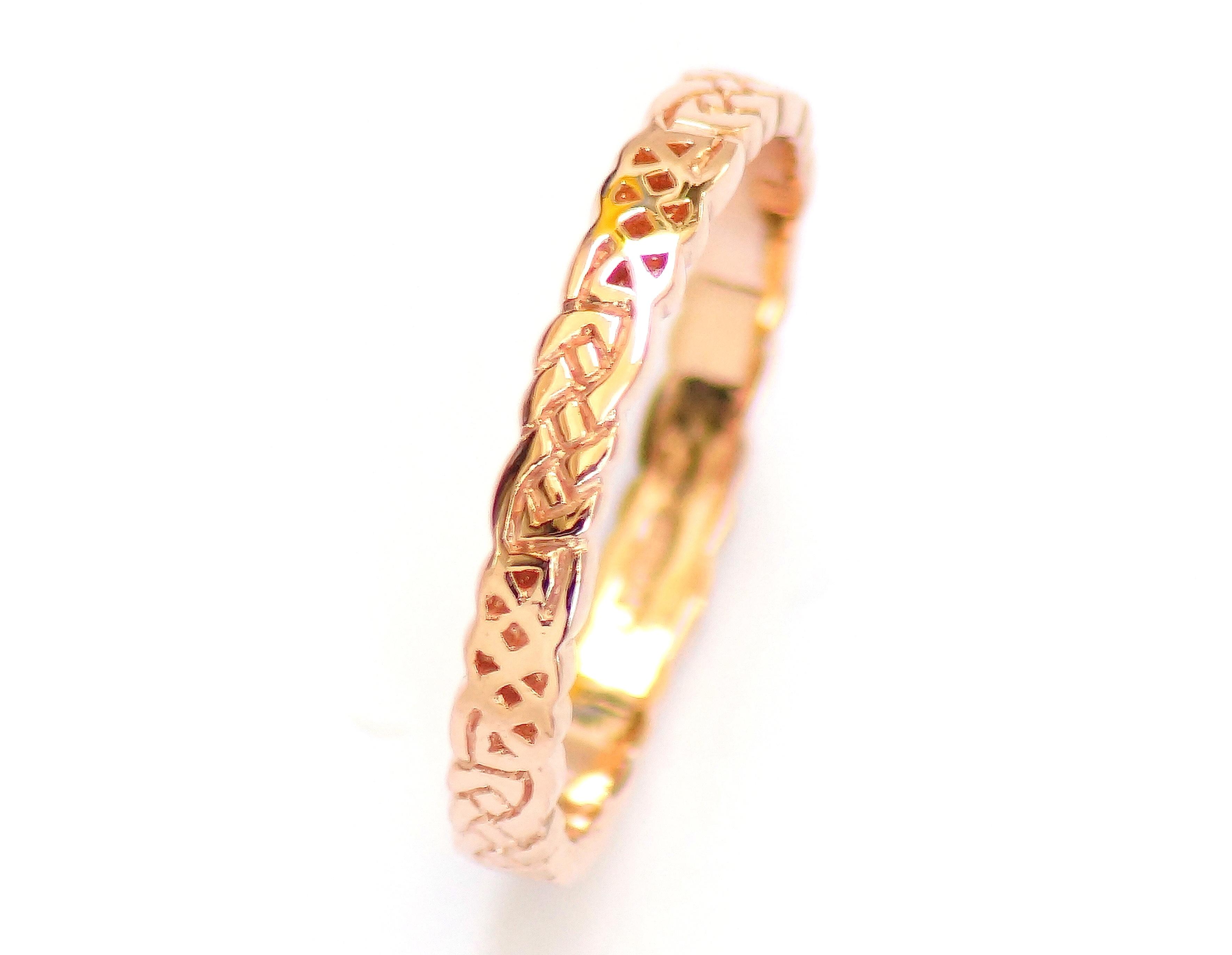 Rose Gold Celtic Ring Irish Jewel