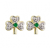 Diamond Emerald Shamrock Earrings