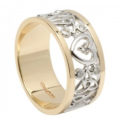 Ladies Heart & Trinity wedding Band 14K