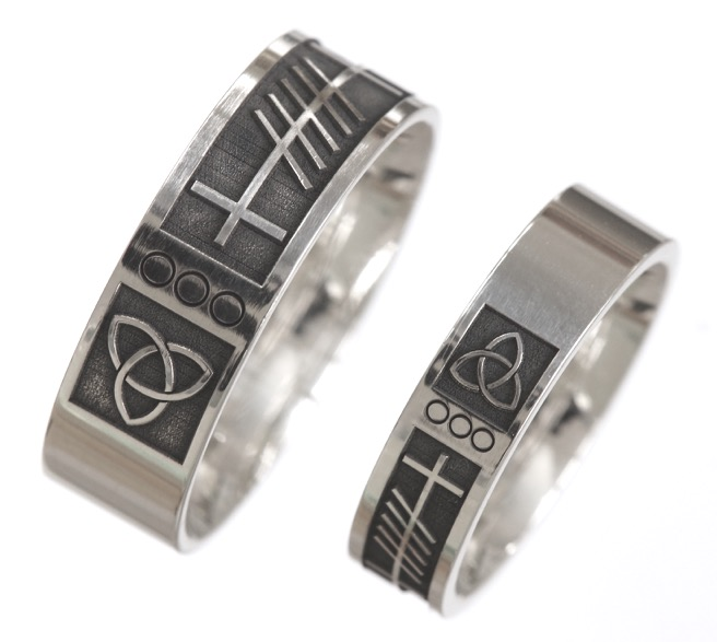 ogham irish yellow boru rings forever made ring celtic white trim love wedding size silver